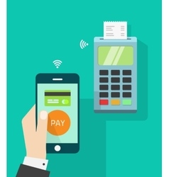 Mobile phone connected to wireless POS terminal vector image