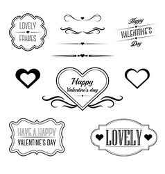 Set of decorative frames related to Valentines day vector image