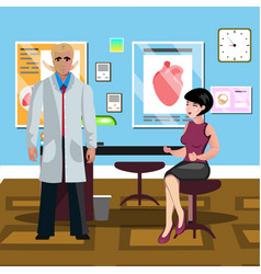 the woman at the doctor office vector image