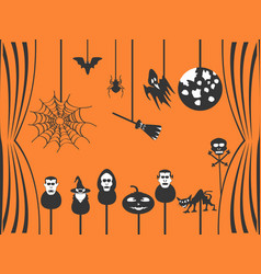black halloween puppets theater vector image vector image