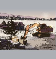 farm rural landscape background vector image
