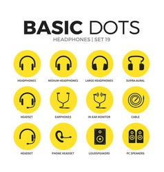 headphones flat icons set vector image vector image