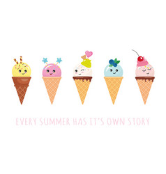 kawaii ice cream cone characters cute cartoons vector image