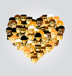 many people in the form of heart vector image vector image
