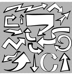 arrows set sketch hand drawn cartoon vector image vector image