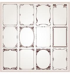 Borders frames art nouveau style vector
