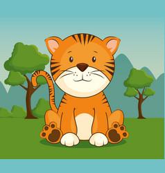 cute adorable tiger animal cartoon vector image vector image
