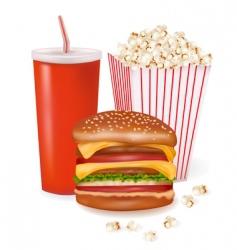 hamburger and popcorn vector image