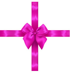 pink realistic bow with ribbons vector image vector image