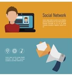 social network media d icon vector image