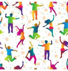 bright seamless background with jumping people vector image