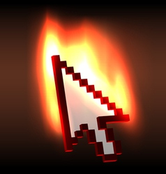Burning computer cursor arrow vector image vector image