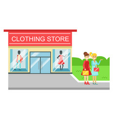 clothing store building and two smiling women with vector image vector image
