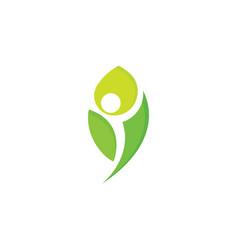 healthy people logo green leaf man vector image