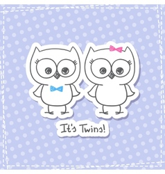 owls twins vector image