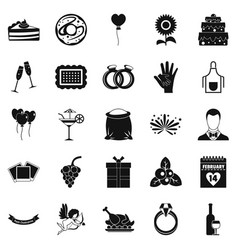 romantic dinner icons set simple style vector image