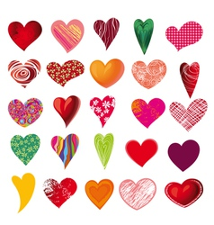 set of multicolored hearts vector image