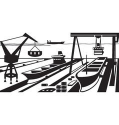 Shipbuilding with docks and cranes vector image vector image
