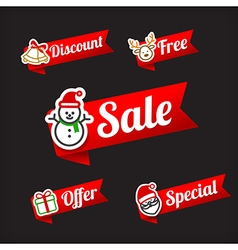 029 Collection of Christmas Sale red and green web vector image