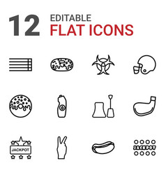 12 poster icons vector image