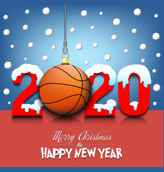2020 new year and basketball hanging on strings vector image
