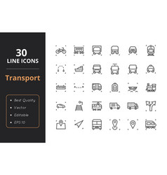 30 transport line icons vector