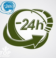 3d 24 hours graphic symbol with additional version vector