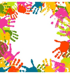 abstract background prints of hands of the child vector image