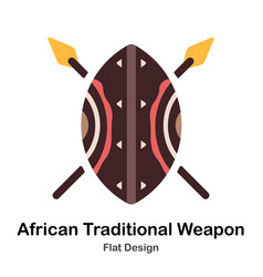 African traditional weapon flat icon vector
