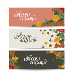 autumn banner set three pieces vector image