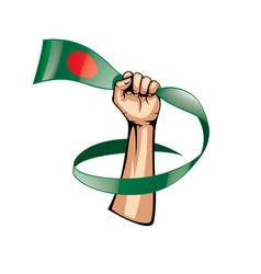 Bangladesh flag and hand on white background vector