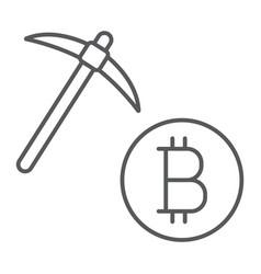 bitcoin mining thin line icon money and finance vector image