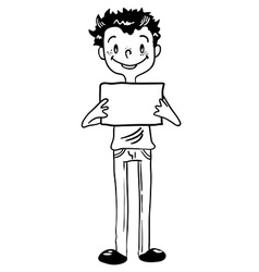 black and white boy holding an empty sign vector image