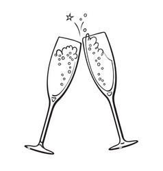 black and white sketch two glasses champagne vector image