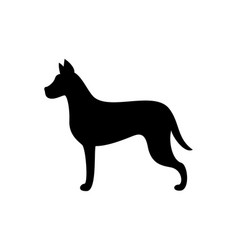 black dog silhouette canine animal icon vector image