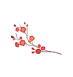 Blossom twig with bright red flowers branch of vector