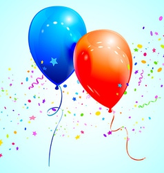 Blue and red balloons vector image