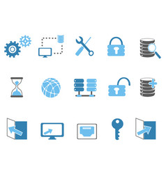 blue database technology icons set vector image