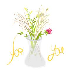 bouquet of wild flowers in glass vase vector image