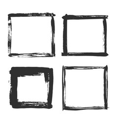 Brush strokes frame black grunge square borders vector
