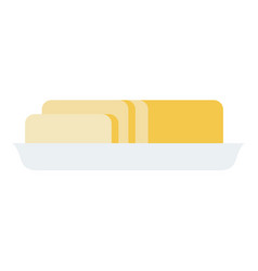 butter in a ceramic plate flat isolated vector image