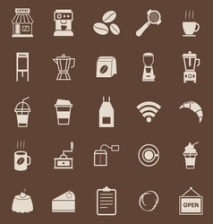 Coffee shop color icons on brown background vector