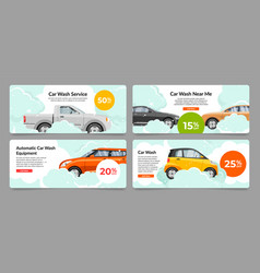 Collection car wash service internet advertising vector