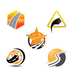 collection road construction creative logo vector image