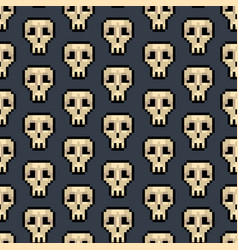 color pixel skull games seamless pattern vector image