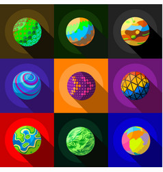 Colorful planets icons set flat style vector