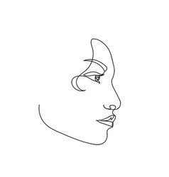continuous line abstract female portrait single vector image