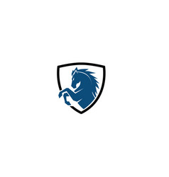creative blue horse shield logo design symbol vector image