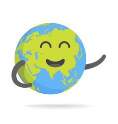 Cute cartoon earth character world map globe with vector