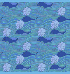cute unusual seamless pattern with whales in the vector image